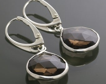 Smoky Quartz Drop Earrings. Sterling Silver. Lever Back Ear Wires. Genuine Gemstone. Silver Framed Gemstones. f17e025