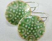 Porcelain Earrings Forest Green Starfish Inspired Dot Star with Hand Forged Sterling Silver Earwire