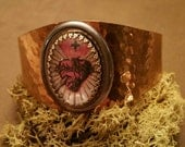 Sacred Heart Image Hammered Brass Cuff