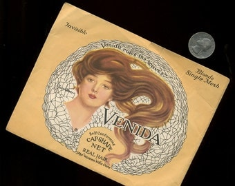 1920s Great Graphics and Paper Envelope with Hair Net