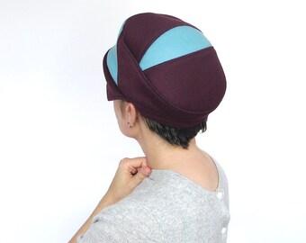 Womens Sewn Hat Small Brim Cloche Wool Driving Cap Handmade Beret Colorblock Hat Casual Cloche Warm Winter Cap Burgundy Teal : Switchback