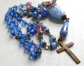 Upcycled Vintage Rosary Necklace Rosary Assemblage Religious Jewelry Boho Bohemian Blue Pink Glass Beads Recycled