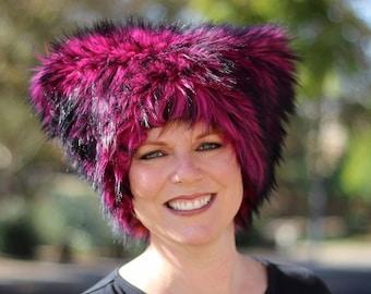 Mi Vida Rosa faux fur hat - Kozy Kitty Hat - magenta husky fur - fleece lining pink black luxe fur - men women fuzzy hat Mardi Gras festival