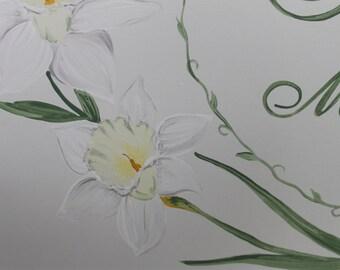 Baby keepsake box Daffodil - baby Keepsake chest memory box personalized baby girl gift hand painted