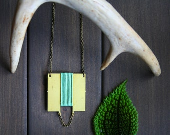 Sonja Necklace - square geometric modern minimal green cord brass gold oxidized long gift for her moss