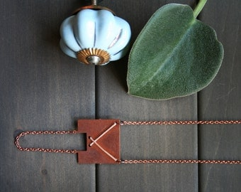 Sybil Necklace - geometric square copper modern minimal minimalist leather cord pink beige