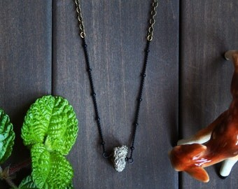 2 LEFT Pyra Necklace - pyrite stone fool's gold black brass short minimal minimalist modern nugget everyday unique