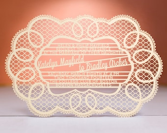 Doily Wedding Invitation, Laser Cut