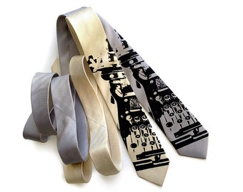 Typewriter necktie. Elegant herringbone woven silk tie. Black silkscreen print.  Choose cream tie, silver tie & more!