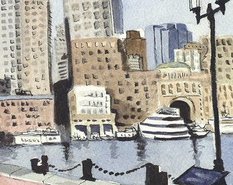 Boston Waterfront, Rowes Wharf     a watercolor painting