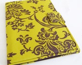 Chartreuse and Brown Floral Cover for iPad Air, Soft Book Style
