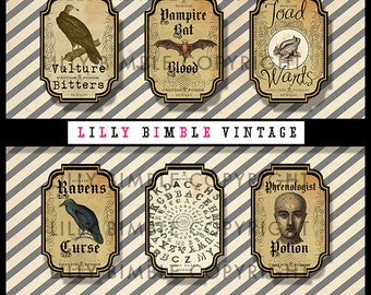 80% off Apothecary Labels for Halloween Vampire Bat Blood, Toad Warts, collage,vulture, ouiji board Instant Download