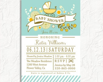 Neutral Baby Shower teal and yellow Carriage, floral DIY printable customized