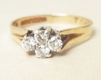 Vintage Diamond Flower Ring, 9k Gold Four Diamond Cluster Engagement Ring Approximate Size US 5/5.25