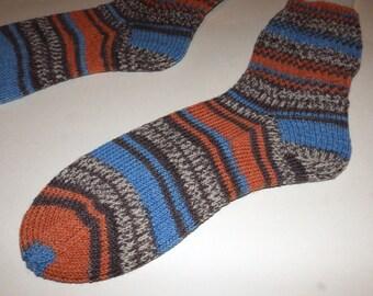 Knit socks . Hand knit socks . Striped socks . Cotton elastic wool blend socks . Handknit wool socks . Handmade in Canada . Small