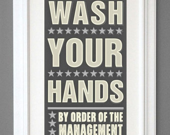 "Kids Bathroom Decor - Kids Wall Decor- Neutral Wash Your Hands By Order of Management Print- 8"" x 14"" fits 11"" x 17"" frame- Bathroom Art"