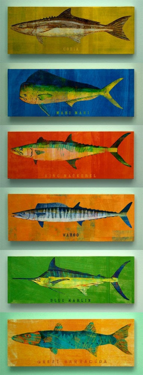 """Saltwater Fish Art Block Sign- Pick the Print- 4""""x11"""" Fish Wall Decor- Husband Gifts Under 25- Fishing Gifts for Men- Valentines for Him"""