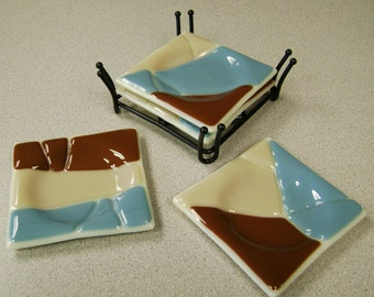 Four Fused Glass Coasters in Iron Holder
