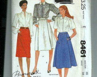 McCall's Misses Skirts Pattern 8461