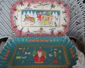 2 Antique West Germany Paper Molded Christmas Cookie Plates 1930's-40's ECS Epsteam
