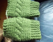 Hand knit cabled knitted hand warmers wool mohair  mittens fingerless gloves mitts wrist olive green one size bulky warm