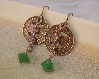 Arch City - Vintage 1919 United Railways of St. Louis Transit Token Swarovski Crystals Recycled Repurposed Jewelry Earrings