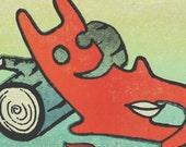 Raleigh Devil on a Log screen print