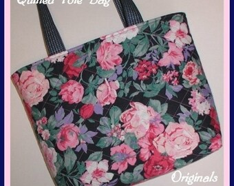 Grandmother's Rose Garden Tote Bag Purse Pouch Roses Navy Pink Quilted