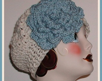 Cream Beret Hat Dusty Blue French Rose Super Size Extra Large Flower