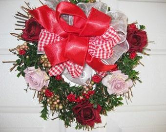 Valentine Wreath - Rose Heart Wreath - Romantic Wreath, Front Door Rose Wreath, Front Door Decor, Home Decor
