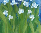 Cyber Monday SALE Original Acrylic Painting ACEO White Flowers on Blue Garden Floral Landscape Art Card Free Ship ATC