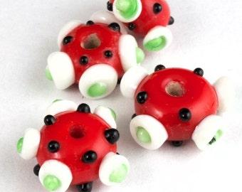 15mm Red/White/Black Lampwork Pinwheel Bead (6 Pcs) #LCL007