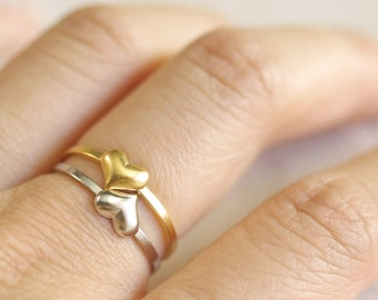 tiny heart ring . heart stacking ring . simple heart ring . stackable heart ring . small heart ring // 4HRTS