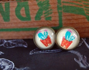 tiny cactus succulent framed post earrings- medium size