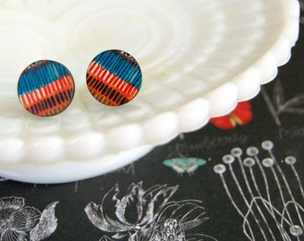 abstract wooden striped post earrings - tribal style- blue red green