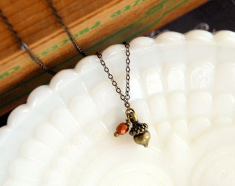 tiny acorn dainty pendant necklace with copper colored bead accent- woodland whimsy