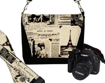 SET Dslr Camera Bag and Dslr Camera Strap, Camera Bag Slr Camera Neck Strap, April in Paris cream white black gray MTO
