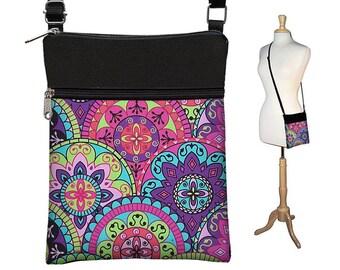 Paisley Sling Bag Shoulder Purse Cute Crossbody Bag Small Travel Purse Zipper Pink Purple Turquoise Fits eReaders RTS