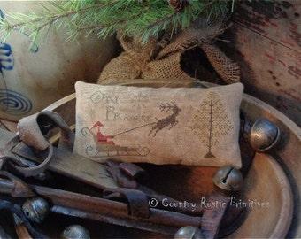 Primitive On Prancer Pillow Tuck Christmas Cross Stitch E Pattern PDF New Pattern