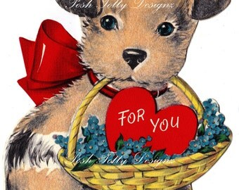 For You Valentine's Puppy Greetings Card Digital Download Image (464)