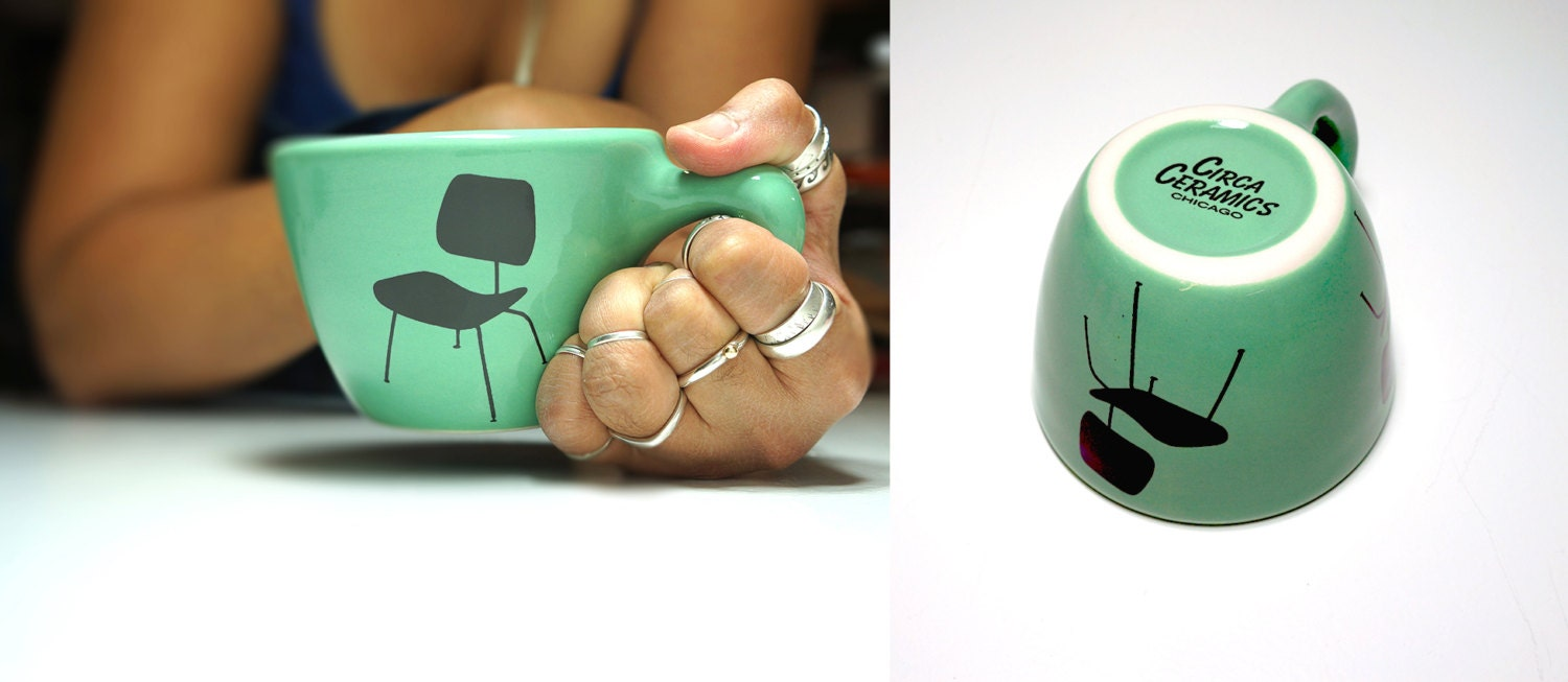 12oz cup shown here in Blue Green with an Eames Chair print. Made to Order / Pick Your Colour / Pick Your Size