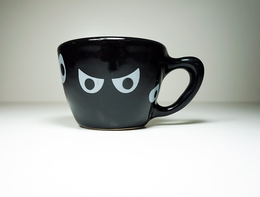Jeepers Peepers! 12oz cup in black glaze, made to order.