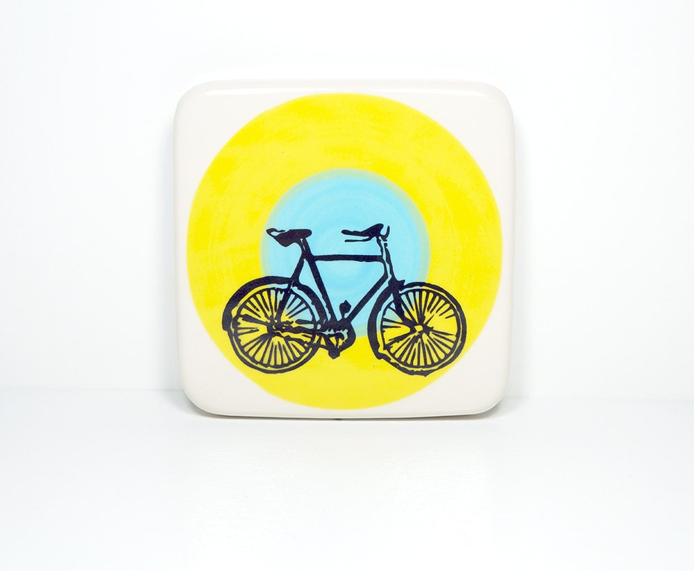 tile with a dusty road bike on a color block of yellow and sky blue, made to order.