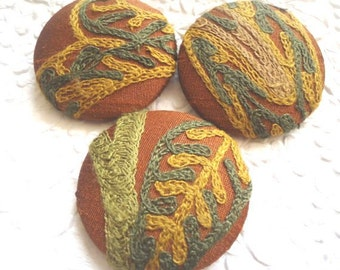 Green/dark rust/gold buttons,  crewel buttons, embroidered fabric buttons, covered buttons, 1 7/8 inches