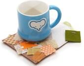 Fabric and Felt Drink Coaster, Tea Bag Themed Coaster, Tea Time Mug Mat, Cute Kawaii Drink Coaster, Quilted Mug Rug, Wool Felt Coaster, OOAK