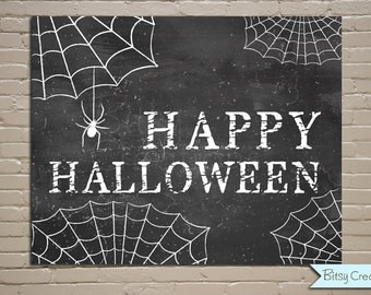 Halloween Chalkboard Printable Wall Art by BitsyCreations Instant Download Happy Halloween Chalkboard Printable