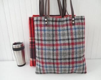 Wool Tote Leather Handles Vintage Retro Check Wool Laptop Bag