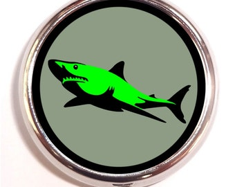 Green Shark Pill Box Case Pillbox Rave Neon Psychedelic Music Festival Pop Art