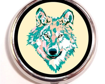 Psychedelic Wolf Pill Box Case Pillbox Rave Hippie Music Festival Pop Art Neon Colors Animal