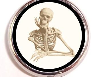 Skeleton Thinking Pill Box Case Pillbox Goth Skull Gothic Horror Oddity Macabre Dark Art Medical Anatomical Holds Guitar Picks